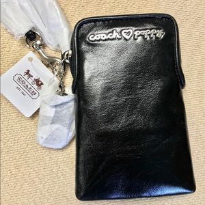 Coach Poppy Black leather wristlet, NEW WITH TAGS!
